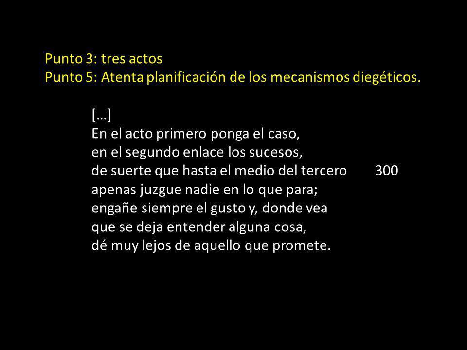 Punto 3: tres actos Punto 5: Atenta planificación de los mecanismos diegéticos. […] En el acto primero ponga el caso,